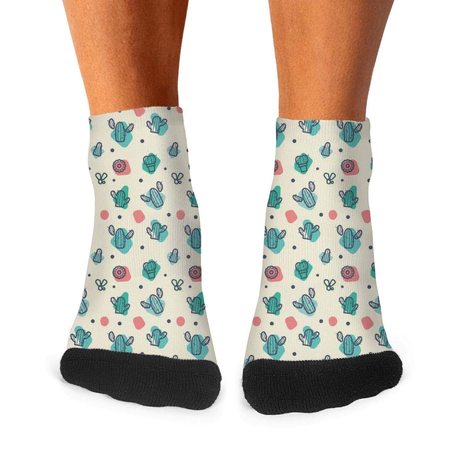 Mens athletic low cut Ankle sock small cactus drawing pattern Short Cute Sock