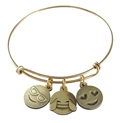 Very Amazon.com: WIZARDPINS Emoji Charm Bracelet (Live. Laugh. Love  ZY12