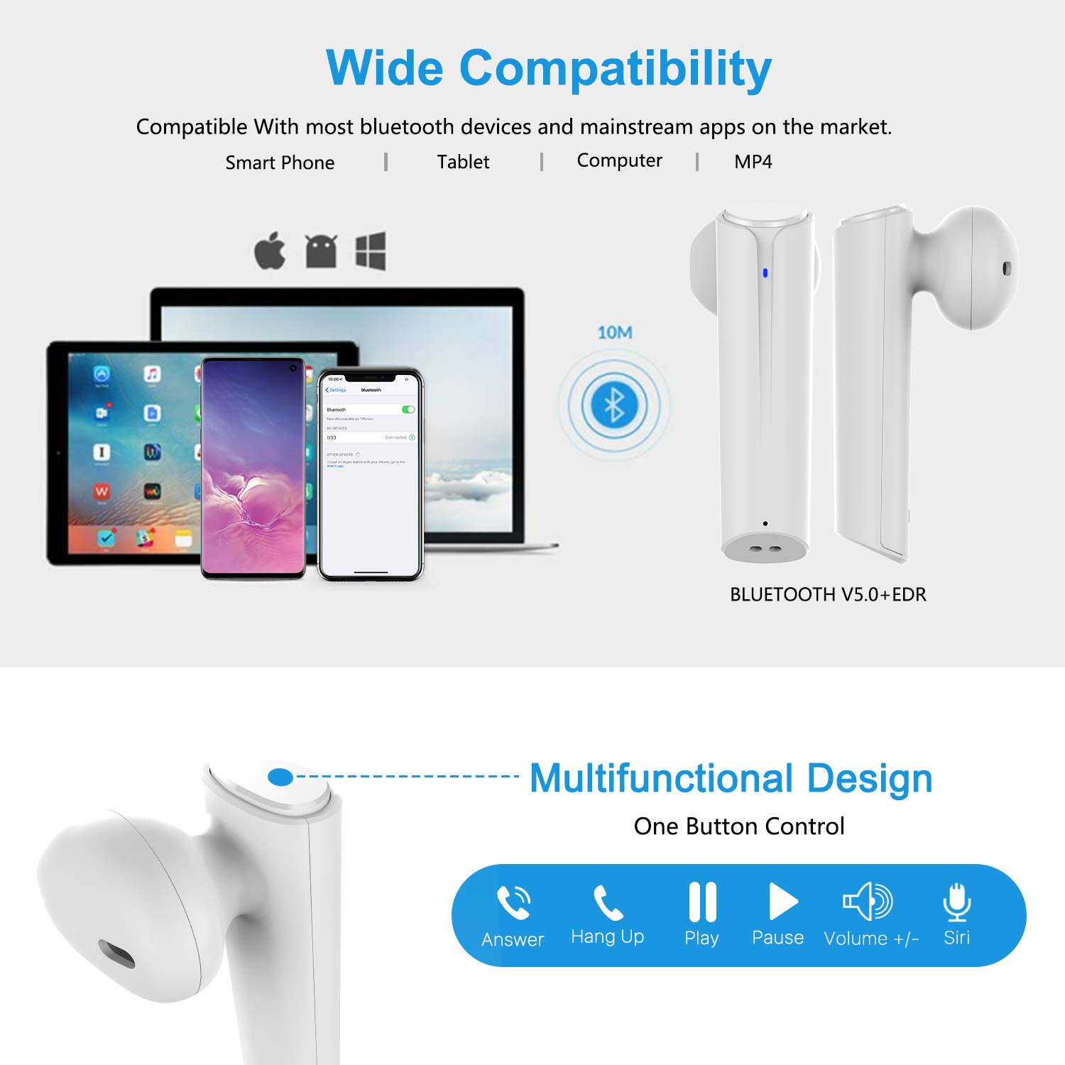 Wireless Earbuds Bluetooth 5.0 Headphones, Cshidworld True Wireless Stereo Earphones with 35Hrs Playback, Hi-fi Sound Bluetooth Headset with Charging Case, One-Step Pairing (White) by Cshidworld (Image #5)