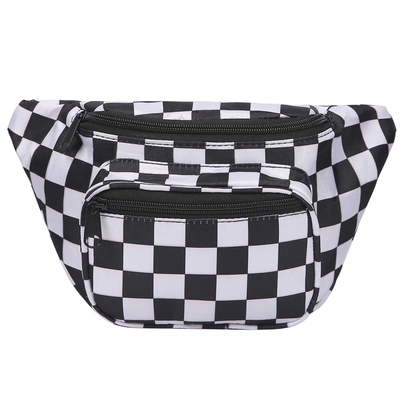 HDE Fanny Pack [80's Style] Waist Pack Outdoor Travel Crossbody Hip Bag (Black and White Checkered)