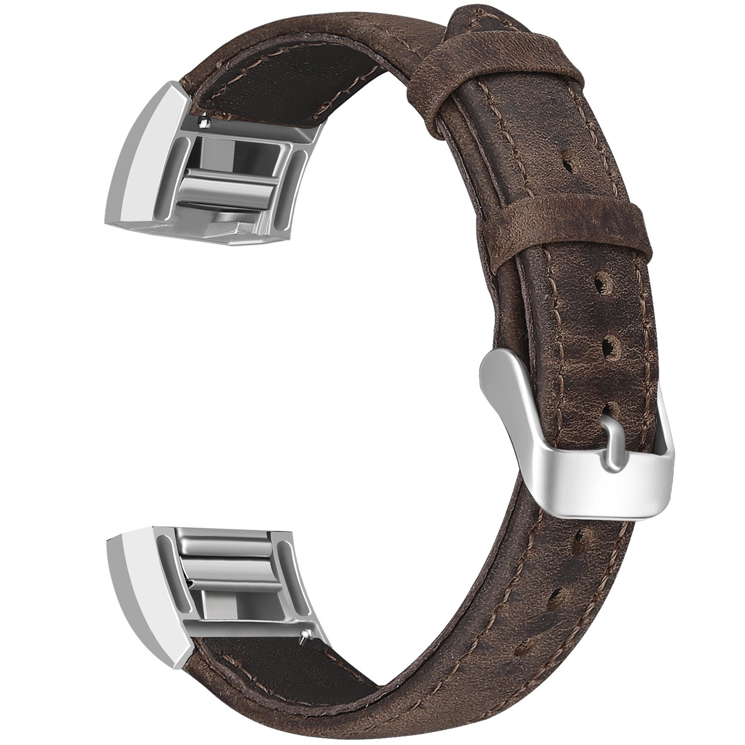 SKYLET For Fitbit Charge 2 Bands, Retro Replacement Genuine Leather Strap for Fitbit Charge 2 Wristbands (No Tracker)[Retro Brown]