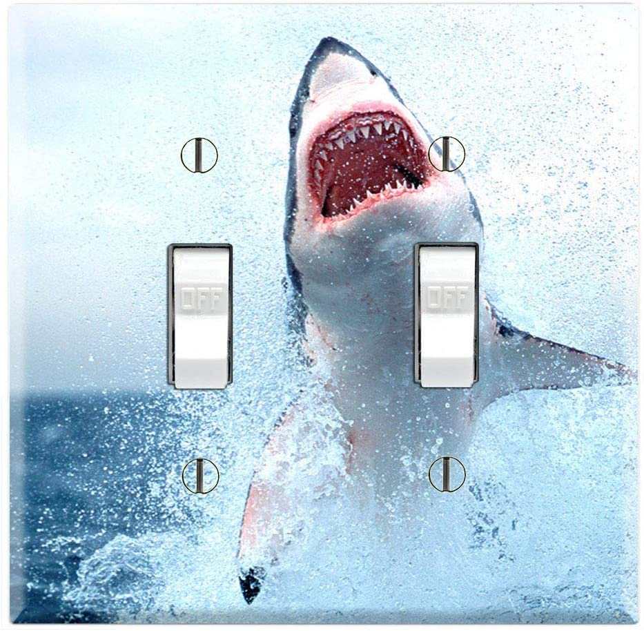 Graphics Wallplates - Great White Shark Attack - Double Toggle Wall Plate Cover