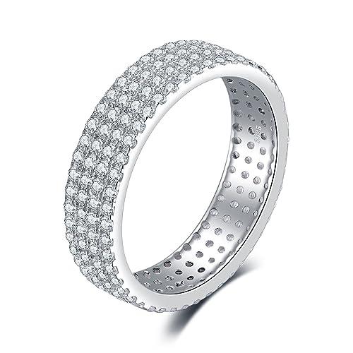 8d7b69f1d20d JewelryPalace Zirconia cúbicos de las mujeres Anillo de aniversario de la  eternidad Banda de bodas plata de ley 925 Tamaño 17  Amazon.es  Joyería