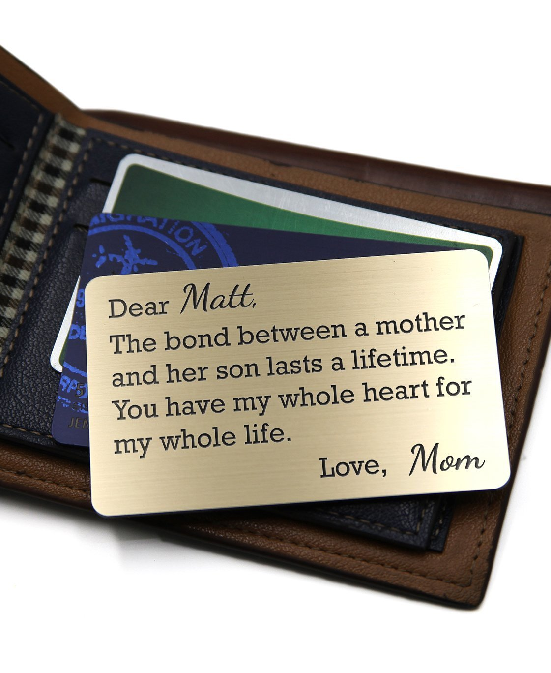 Personalized Wallet Card Insert - Mom and Son