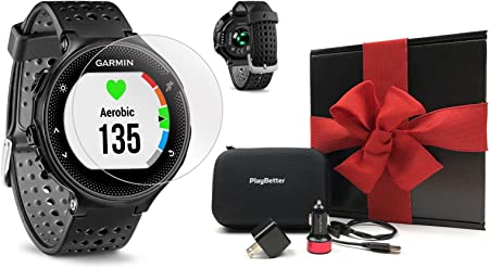 Garmin Forerunner 235 Black Gray Gift Box Bundle with HD Screen Protector Film x4 , PlayBetter USB Car Wall Adapters Protective Case GPS Running Watch On-Wrist Heart Rate Black Gift Box