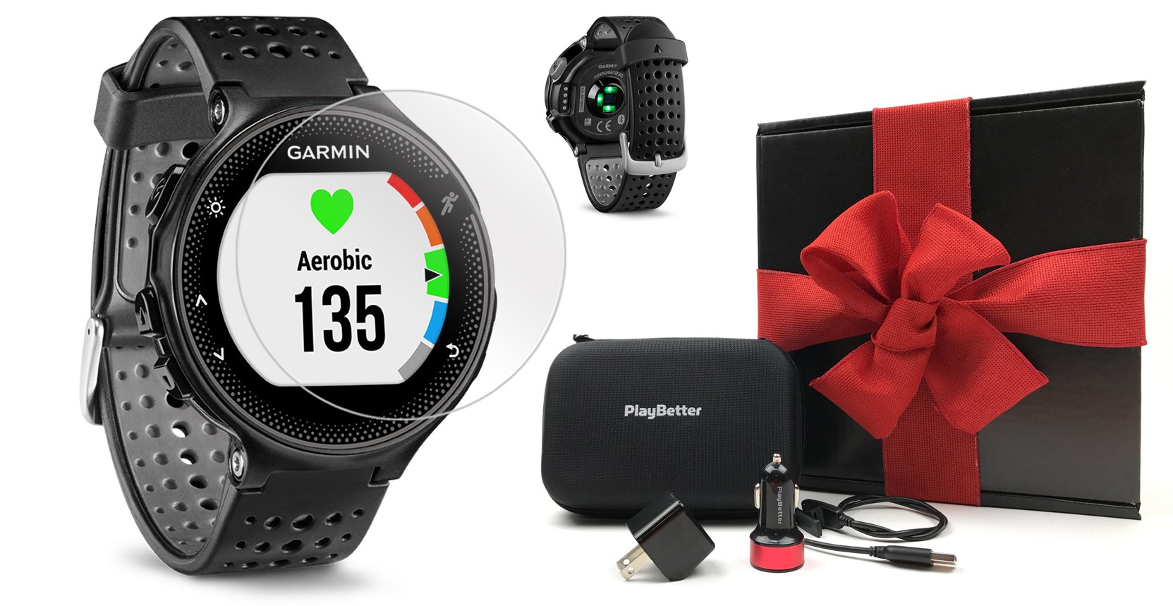 Garmin Forerunner 235 (Black/Gray) Gift Box Bundle | with HD Screen Protector Film (x4), PlayBetter USB Car/Wall Adapters & Protective Case | GPS Running Watch | On-Wrist Heart Rate | Black Gift Box by PlayBetter