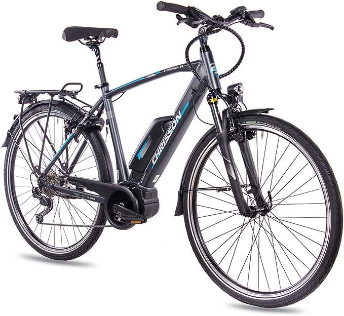 CHRISSON Bicicleta de Trekking y Ciudad para Hombre, 28 Pulgadas, Color Antracita Mate, 9 Marchas, Cambio de piñón Shimano Deore, pedelec con Motor Central Active Line 250 W, 40 NM: Amazon.es: Deportes