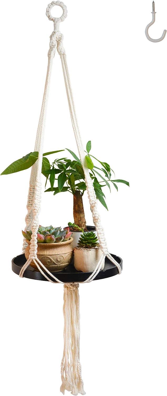 Macrame Plant Hangers Shelf Indoor - Hanging Planter Rack Decorative Flower Pot Holder Boho Home Decor Cotton Rope with Wood Plate ,Black