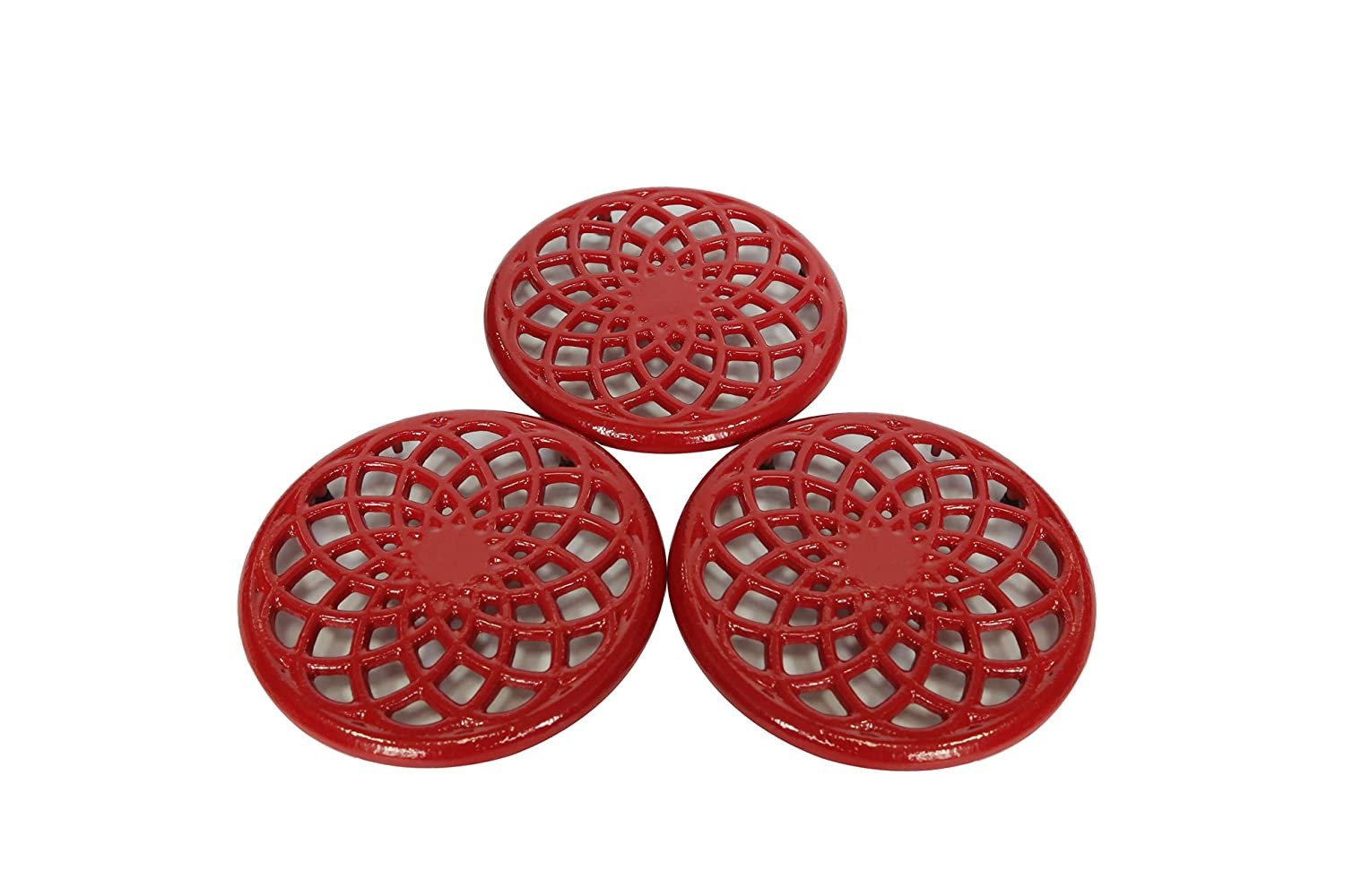 Cast Iron Decorative Metal Trivet Set by Trademark Innovations (Set of 3 Red)
