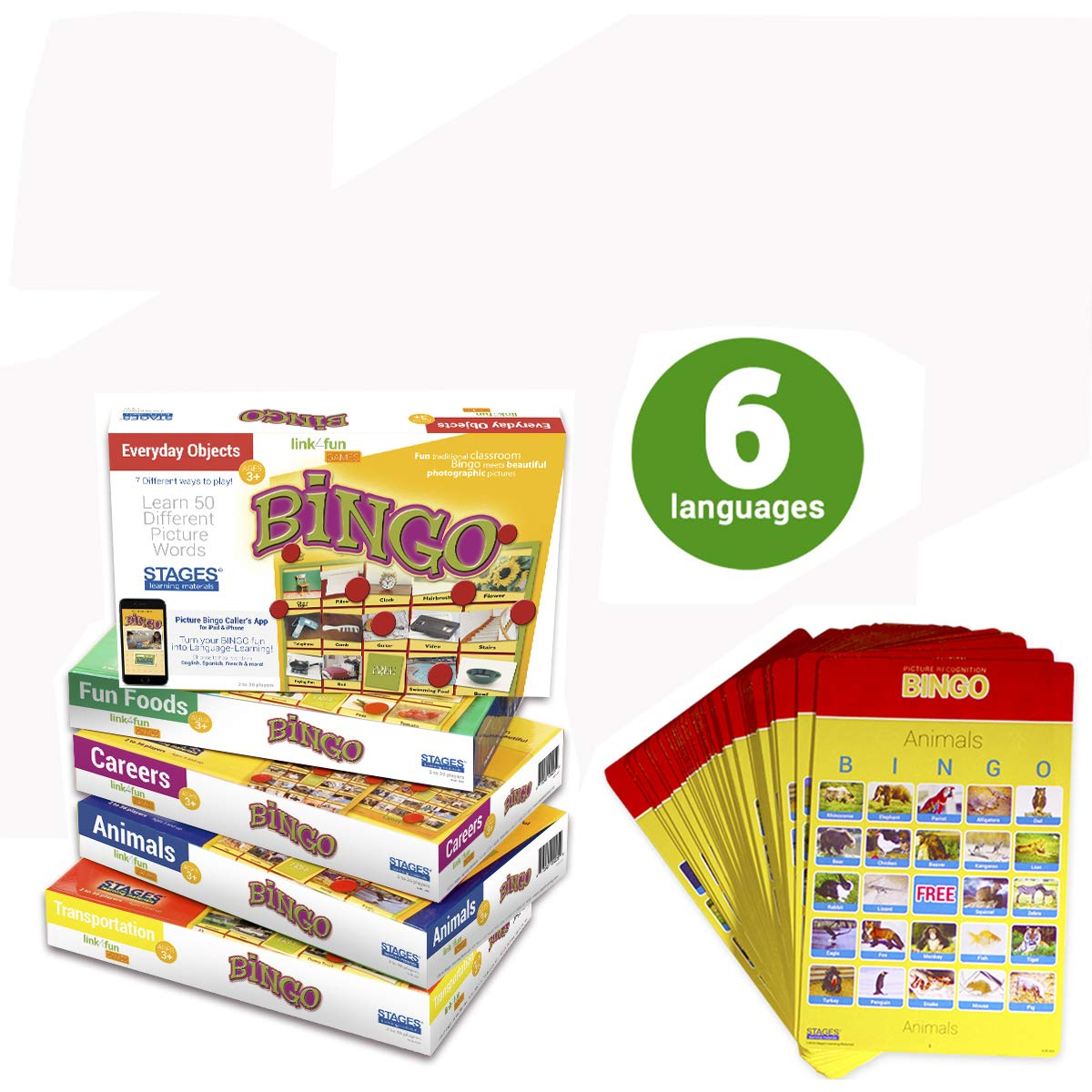 Stages Learning Materials Link4fun Real Photo Bingo 5-Game Set for Family, Preschool, Kindergarten, and Elementary Education: 180 Picture Cards + App by Stages Learning