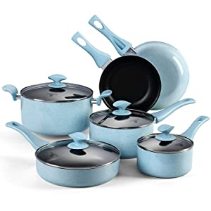 AMERICOOK, 10PC Non-stick Ceramic Pots and Pans Set - Blue Speckle Kitchen Cookware Set with Glass Lids and Stay-Cool Bakelite Handles, Includes: Nonstick Frying Pan, Saucepan, Saute Pan, Casserole