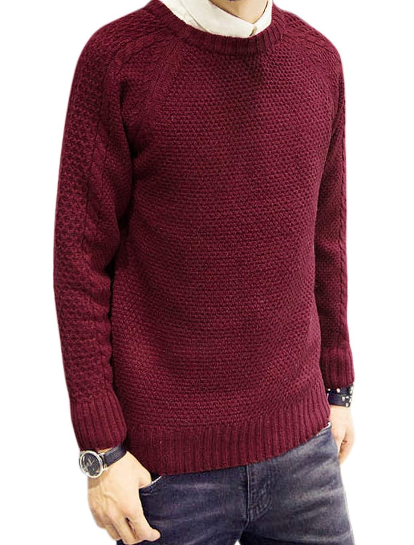 sourcingmap? Men Crew Neck Long Sleeves Textured Casual Sweater