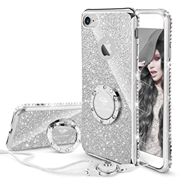 OCYCLONE Funda para iPhone 6 Plus,Ultra Slim Soft TPU Purpurina Fundas Movil con Diamantes Glitter Anillo Protectora Apple iPhone 6 Plus,iPhone 6S ...
