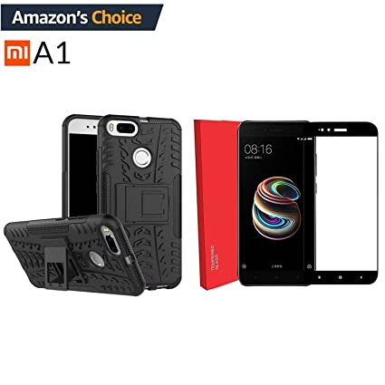 new styles 23b43 c459a Mi A1 Combo of Hard Armor Hybrid Kickstand Bumper Flip Stand Rugged Back  Cover and 2.5D Curved 3D Edge to Edge Tempered Glass for Xiaomi Mi A1