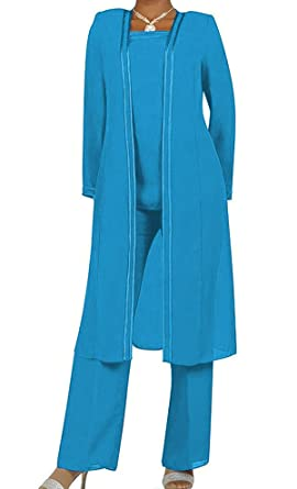 964f86596dd Fitty Lell Women s Chiffon Pant Suits Plus Size 3 Pieces with Long Sleeves  Mother of The