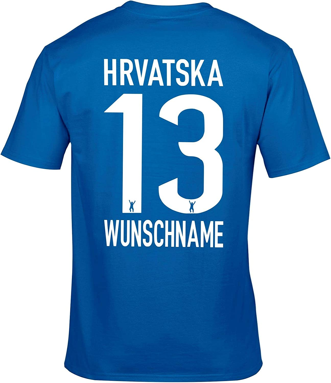 FanShirts4u Herren Fan-Shirt Jersey Trikot Druck Wunschname /& Nummer EM WM T-Shirt inkl Kroatien Hrvatska Croatia