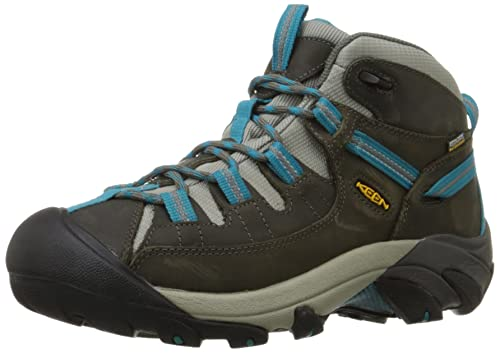 KEEN Women's Targhee II Mid Waterproof Hiking Boot, Gargoyle/Caribbean Sea, 10 B - Medium