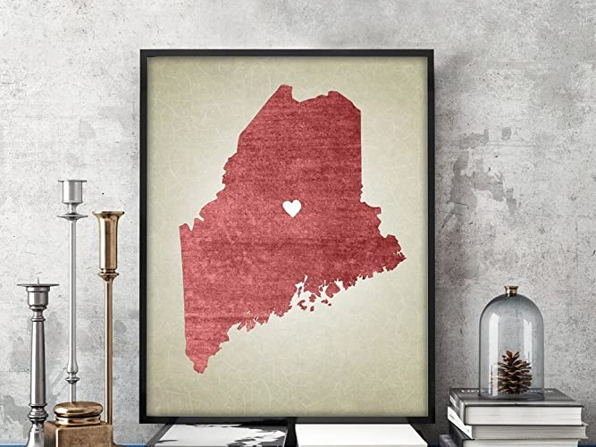 Amazon.com: Maine | State Map Art Print, Personalized State ... on mo state map, shawnee state forest topo map, illinois state map, shawnee state park map,