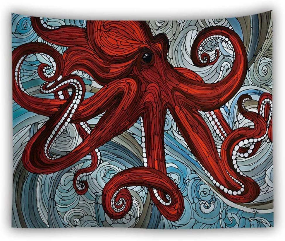 MRR Tapestry Wall Tapestry Fabric Art Wall Hanging Mandala Bohemian Cartoon Octopus Psychedelic Tapestries for Dorm,Bedroom, Door,Room Decor,B,78 60
