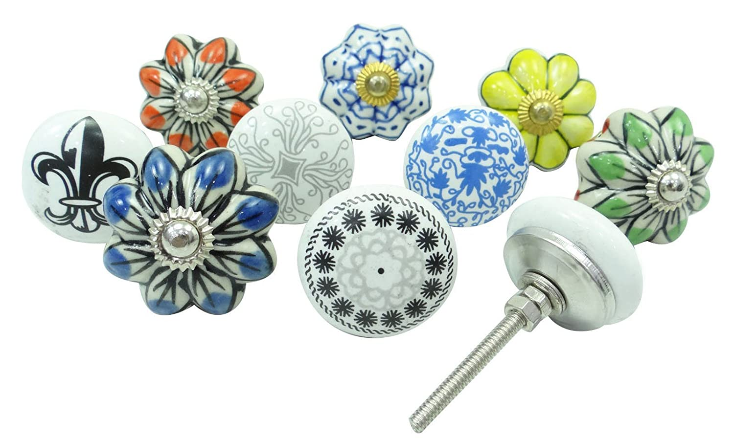 Hand Painted Ceramic Knob Cabinet Hardware Indian Kitchen Knobs Lot Of 10 Pcs Ibacrafts
