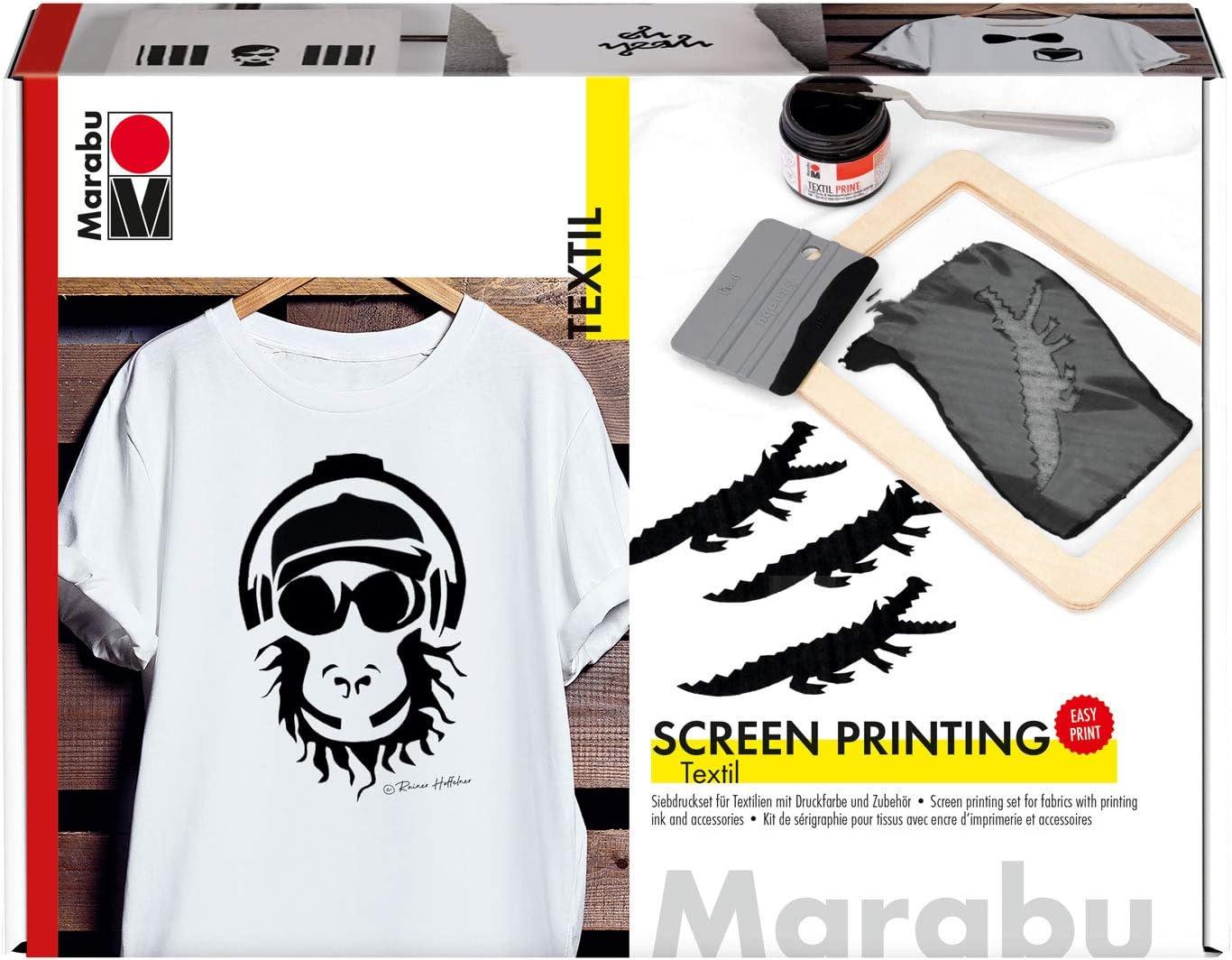 Marabu- Set de impresión Textiles claros y Oscuros con 100 ml de Color Negro, un Marco de colador, una rasqueta y un Cuchillo de Pintura carbón (MR1703000000082)