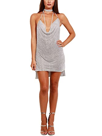 fb80b83fa2 S Curve Women's Handmade Chain Halter Backless Crystal Mini Dress Silver  X-Small