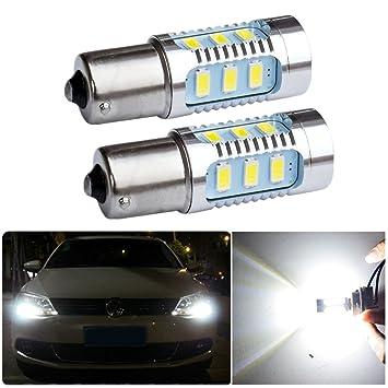 Fezz Bombillas LED Coche Luz Diurna Drl S25 Ba15S 1156 5630 15Smd 7.5W Canbus: Amazon.es: Coche y moto