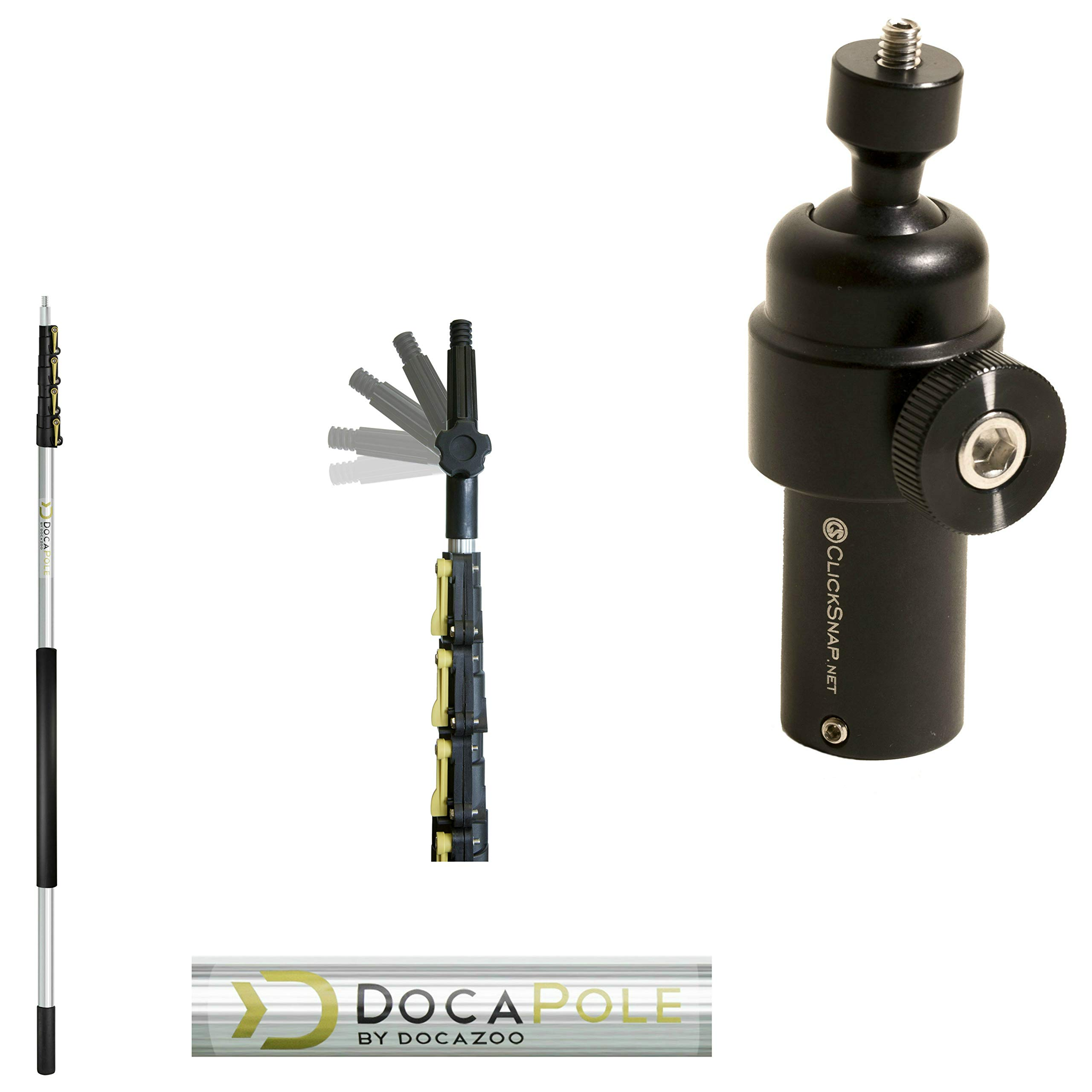 DocaPole 24 Foot Camera Pole - 6-24' Extension Pole + ClickSnap Camera Swivel Adapter for GoPro or Camera | Provides Up to 30 Feet of Reach | The Ultimate Painters Pole Camera Adapter and Camera Pole by DOCAZOO