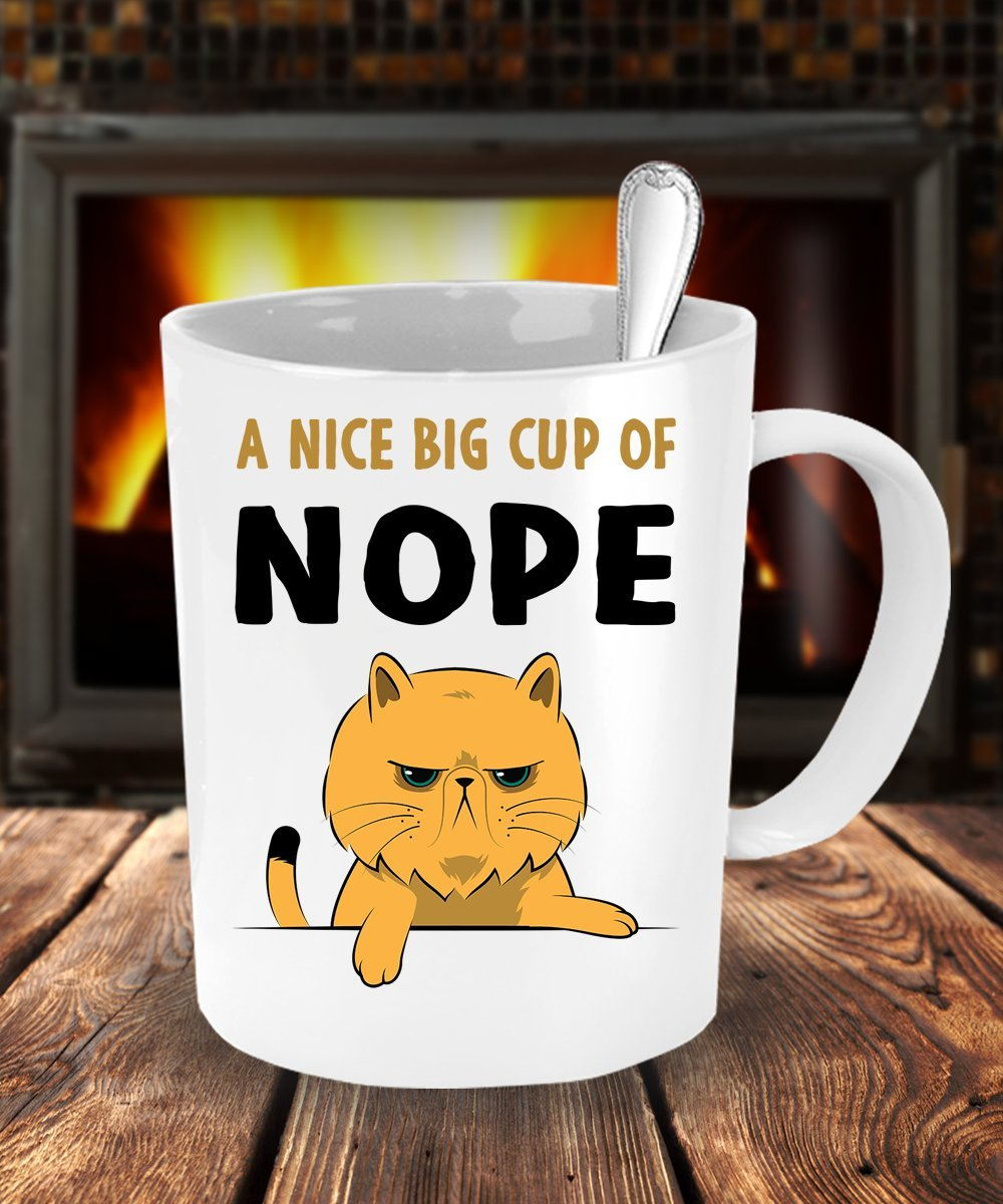 Amazon.com: Cup of Nope Funny Grump Cat Coffee Mug: Kitchen & Dining