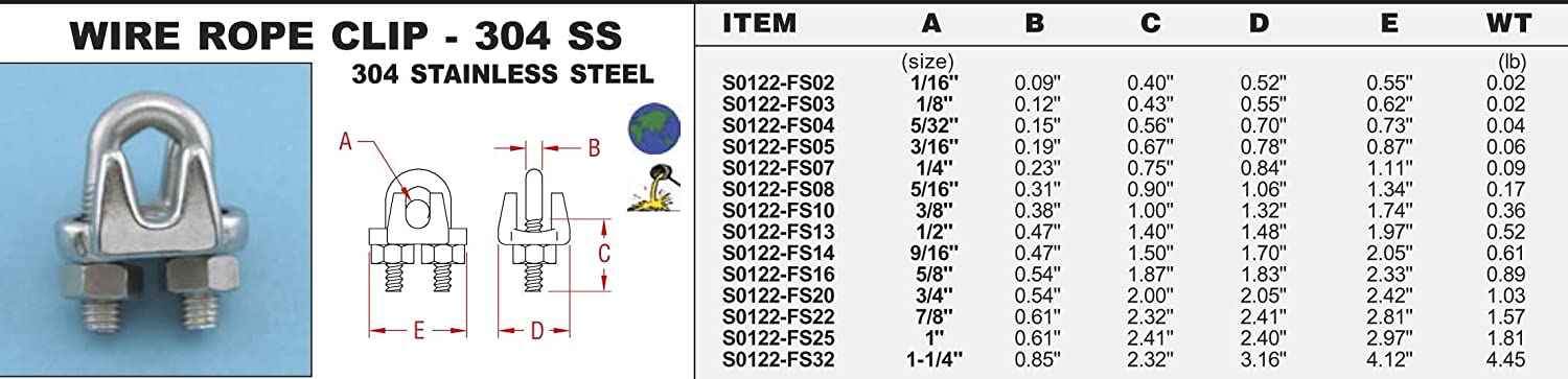 S0122-FS04 10 PK 304 Stainless Steel Wire Rope Clip 304 SS 5//32