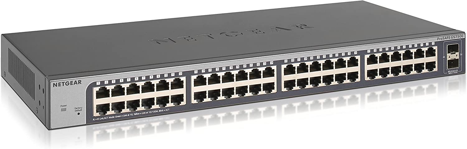 NETGEAR 50-Port Gigabit Ethernet Smart Managed Plus Switch (GS750E) - with 2 x 1G SFP, Desktop/Rackmount, and ProSAFE Lifetime Protection