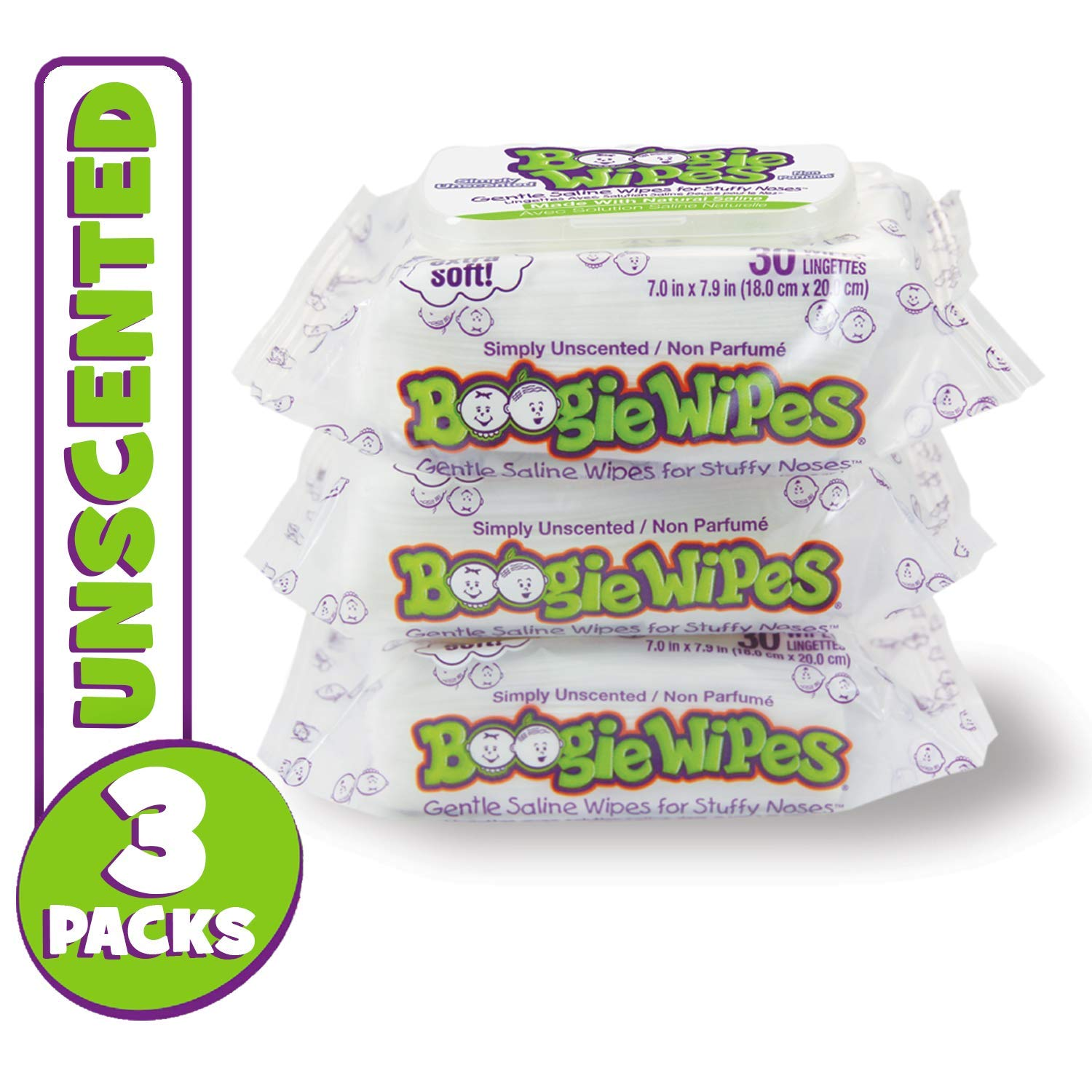 Boogie Wipes, Unscented Wet Wipes for Baby and Kids, Nose, Face, Hand and Body, Soft and Sensitive Tissue Made with Natural Saline, Aloe, Chamomile and Vitamin E, 30 Count (Pack of 3) by Boogie Wipes