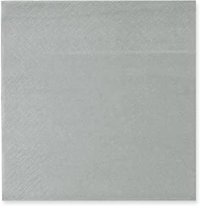 Cocktail Napkins - 200-Pack Disposable Paper Napkins, 2-Ply, Solid Silver, 5 x 5 Inches Folded