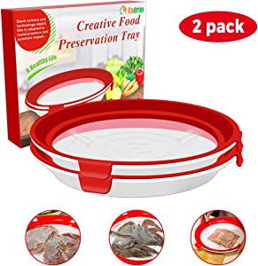Cadrim Food Preservation Tray, Reusable Stackable Food Keeper Plastic BPA Free Food Storage Container with Elastic Locking Lid for Refrigerator and Freezer(Red, Round, 2 Pack)