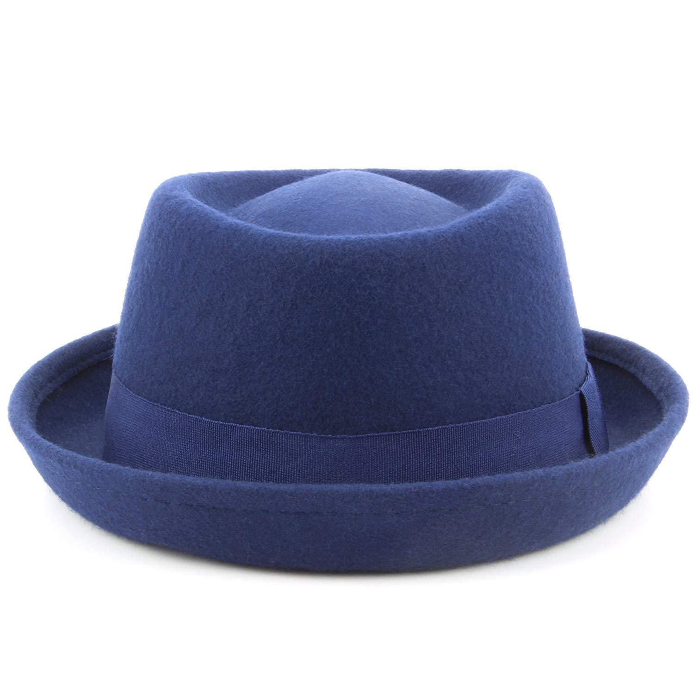 e5badb305e47a Hat Pork Pie Trilby Wool Felt 100% Unisex Band Brim Fedora Jazz:  Amazon.co.uk: Clothing