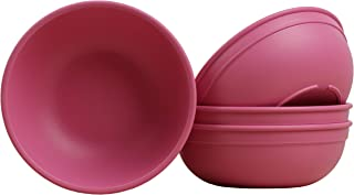 """product image for Re-Play Made in USA Recycled Products, Set of 4 (5.75"""" Heavy Duty Dining Bowl, Bright Pink) Great for Outdoor, Camping, Party, Tailgating or Everyday Dining