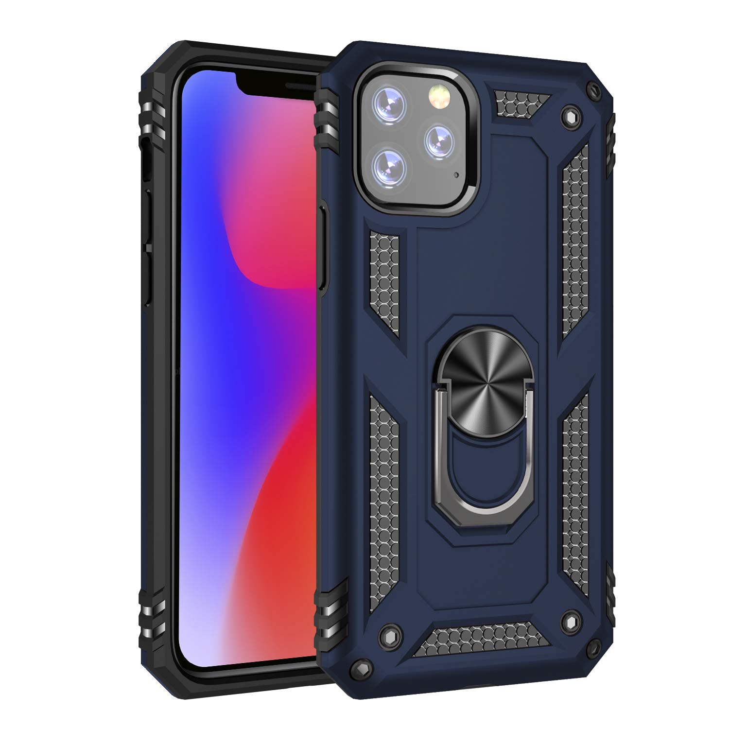 for iPhone 11 5.8|iPhone 11 6.1 Phone Shell Frame Shockproof Durable TPU Soft 360 Degree Ring Bracket Base Magnetic Cover (iPhone 11 5.8, Blue) by hongmeng