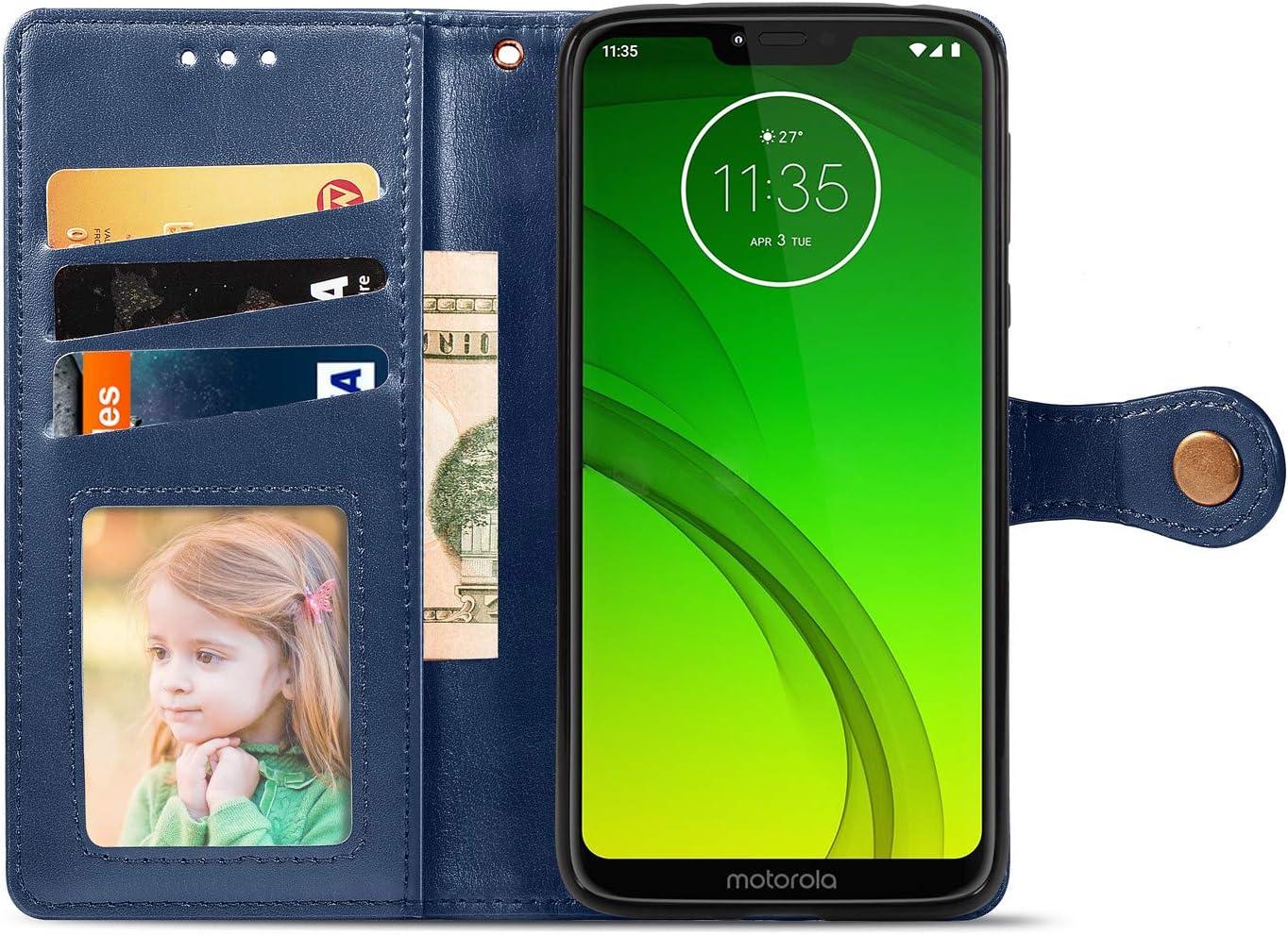 Tosim Moto G7Play H/ülle Klappbar Leder Brieftasche Handyh/ülle Klapph/ülle mit Kartenhalter Stossfest Lederh/ülle f/ür Motorola Moto G7 Play TOSDA010356 Schwarz