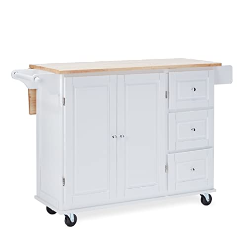 MattsGlobal Traditional Chrome Metal 3-drawer Drop Leaf Kitchen Cart White Natural Kitchen Cart