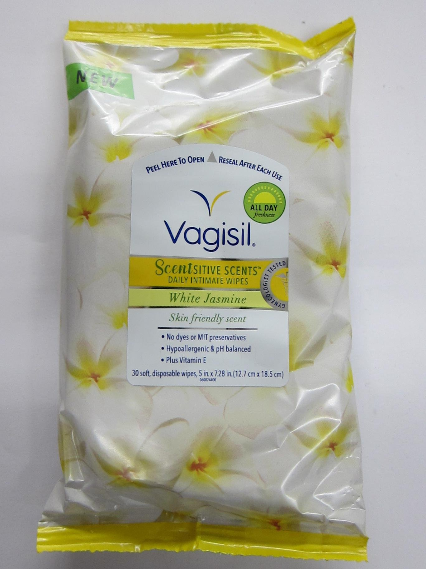Vagisil Scentsitive Scents Daily Intimate Wipes, White Jasmine, 30 Wipes (Pack of 2)