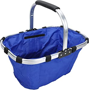 Latsin Garden Collapsible Foldable Picnic Tote Basket, Lightweight with Solid Strick with Aluminum Alloy Frame(Blue)