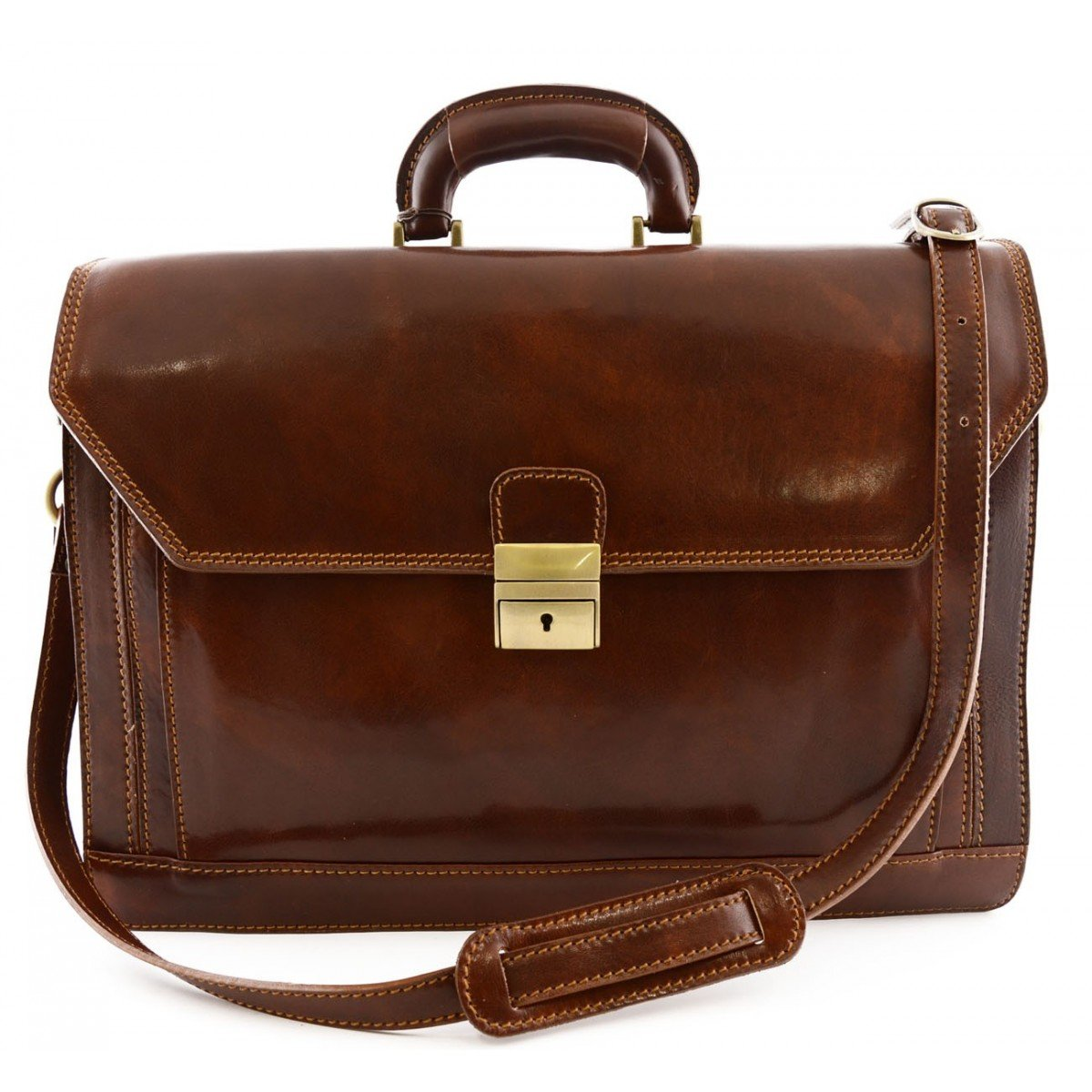 Made In Italy Leather Briefcase Color Brown - Business Bag B014T6HS2S