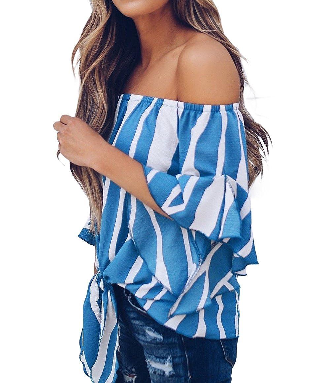 TOUVIE Damen Bluse Sommer Kurzarm Schulterfrei Causal Oberteile Streifen Shirt Strand Tunika S-XXL