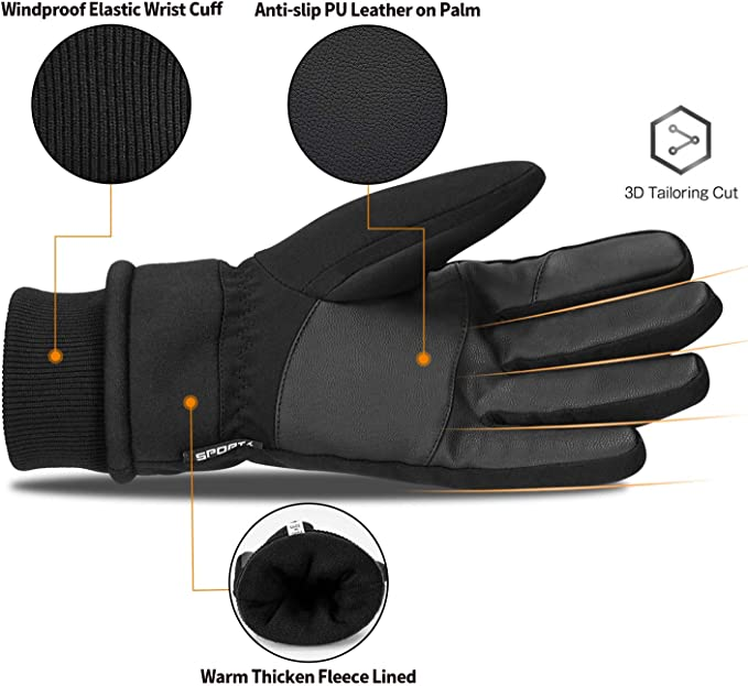 Winter Gloves Xpassion Unisex Running Gloves Anti-slip Touchscreen Cold Weather Gloves for Men Women Outdoor Sports Walking Riding Driving Cycling