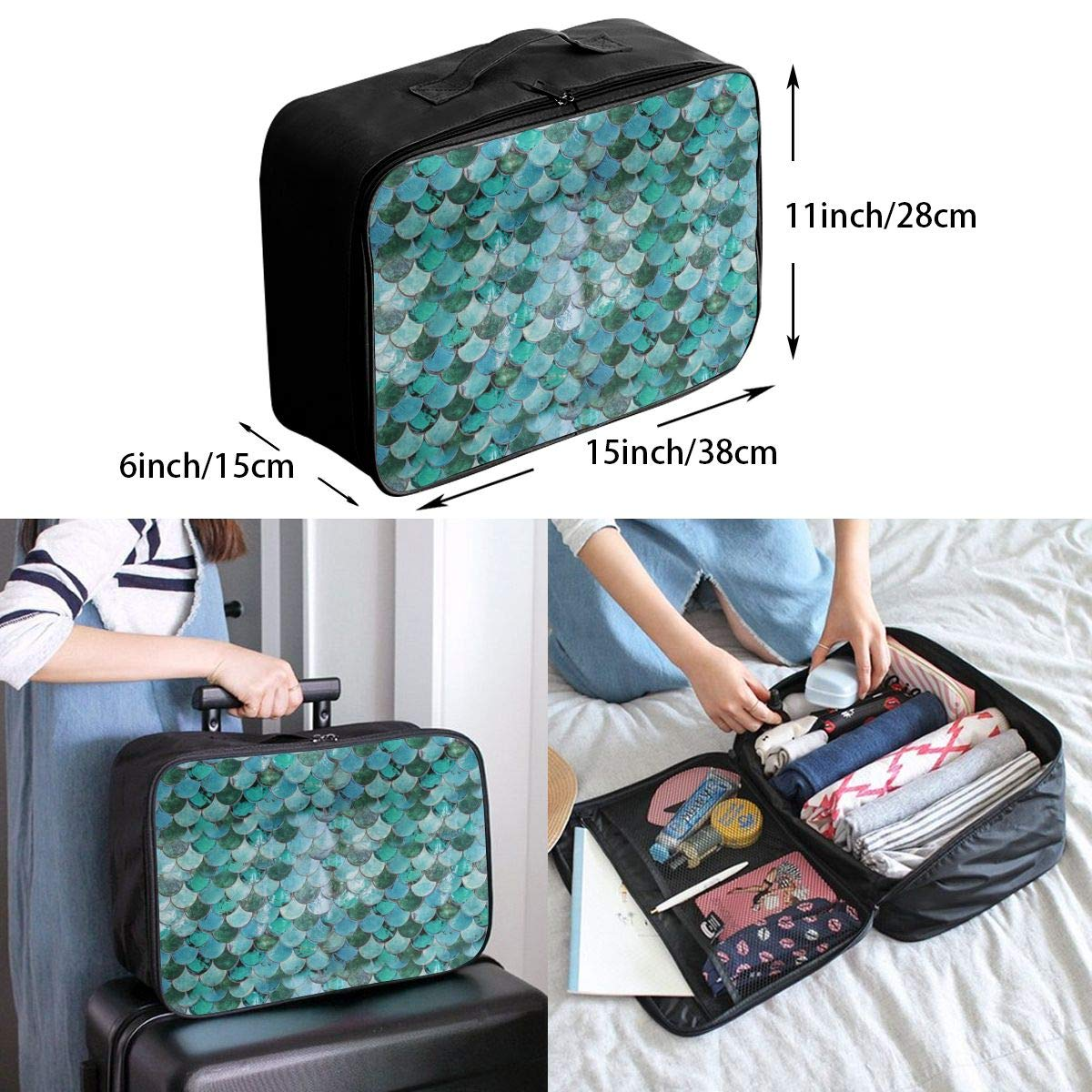 Charming Hawaii Flower Overnight Bag Makeup Bag Case Sports Party Travel Duffle Bag Weekend Bags In Trolley Handle Nylon Lightweight Hand Bag Waterproof Toiletry Bag