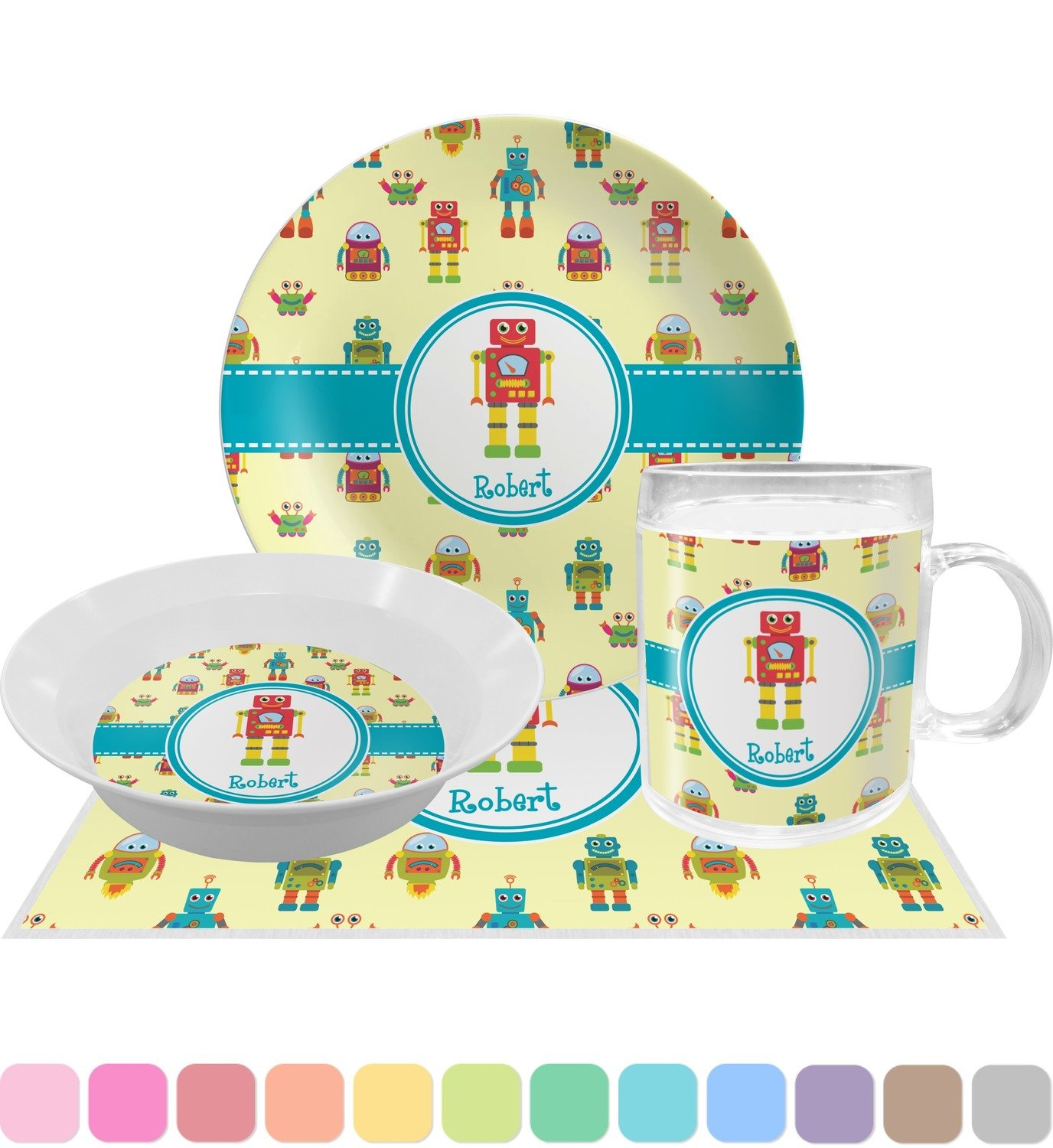 Robot Dinner Set - 4 Pc (Personalized) by RNK Shops