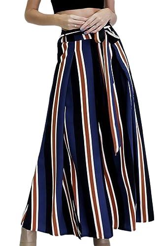 De Color de las mujeres rayas laterales raja pantalones de pierna ancha