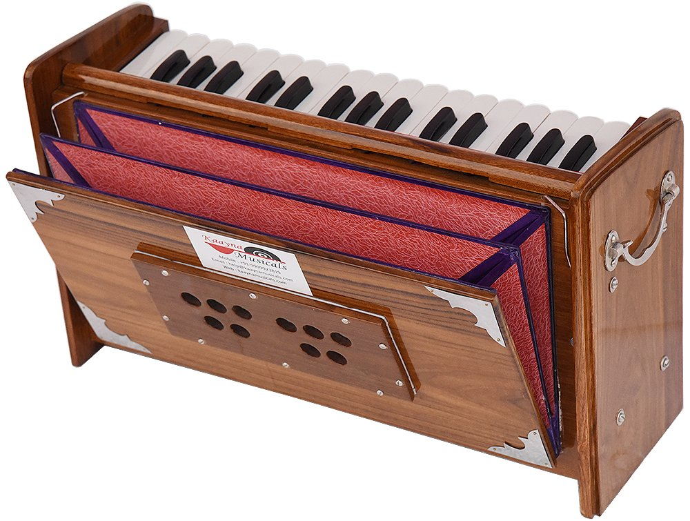 Harmonium Dulcetina Teak Wood By Kaayna Musicals, Compact Size, Easy to Carry, 2¾ Octaves, Natural Wood Color, Gig Bag, Bass & Male Reed- 440 Hz, Suitable for Yoga, Bhajan, Kirtan, Shruti, Mantra