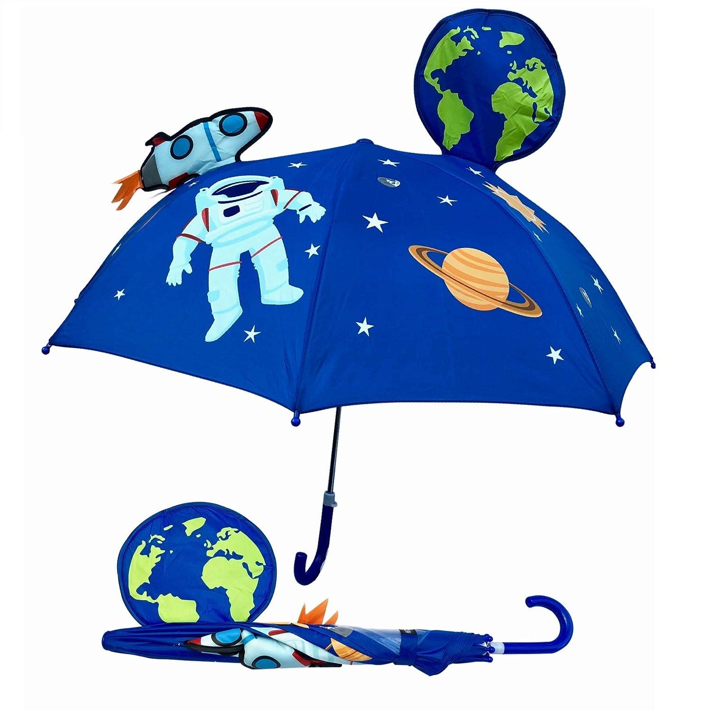 3D Kinder Regenschirm Weltraum Weltall Astronaut | mit Rakete, Erde, Planeten, Satellit mit Sichtfenster | Kinder Regenschirm oder Sonnenschirm für Jungen und Mädchen | Regenschirme für Schulkinder Kindergartenkinder | Wasserdicht und Winddicht | leichtes
