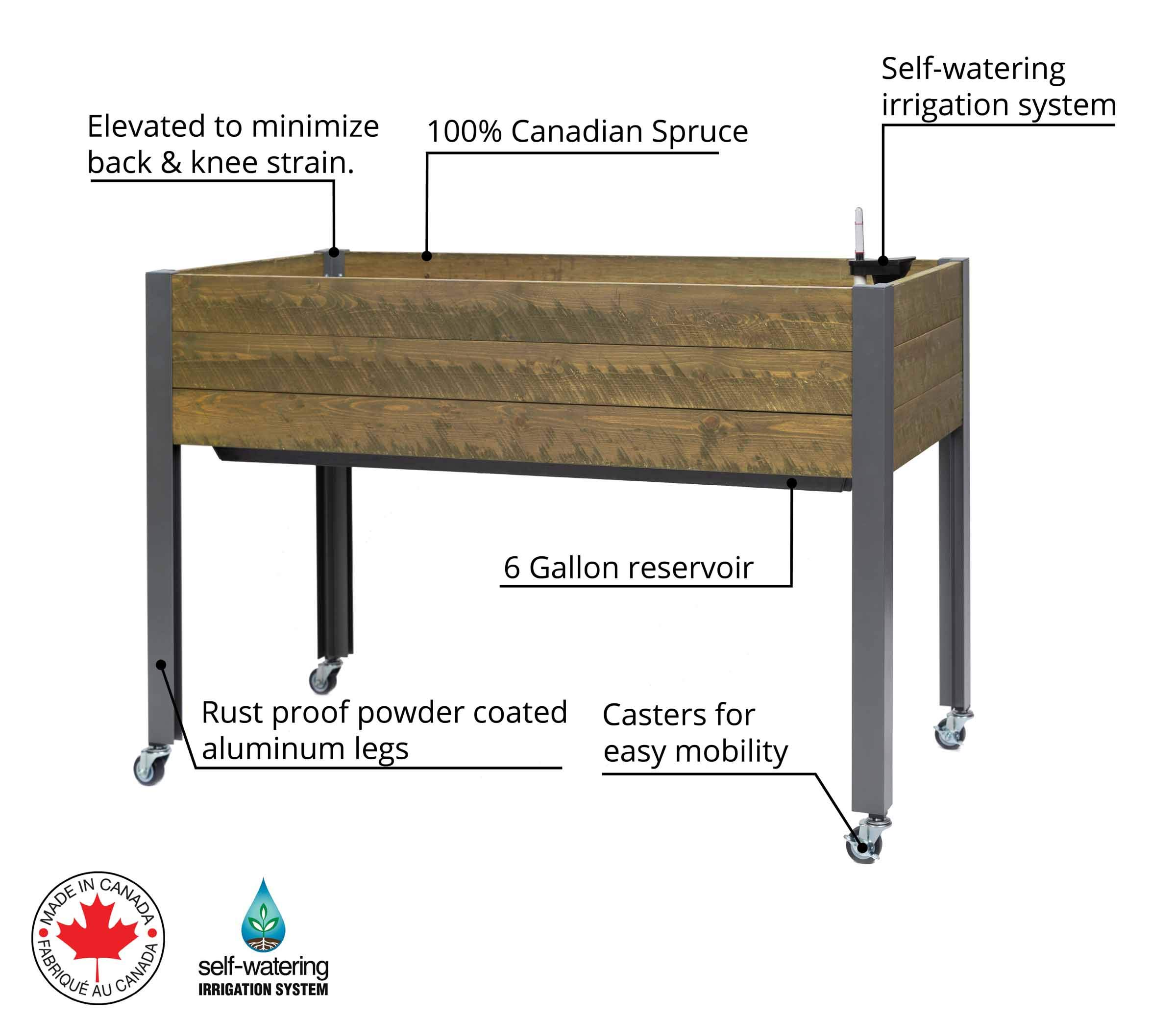 CedarCraft Self-Watering Elevated Spruce Planter (21'' x 47'' x 32''H) - The Flexibility of Container Gardening + The Convenience of a self-Watering System. Grow Healthier, More Productive Plants. by CedarCraft (Image #2)